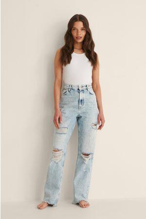NA-KD Trend Dame Straight - Slitte Jeans Med Høyt Liv