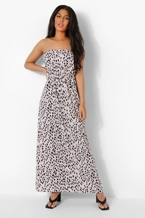 Boohoo Dame Maxikjoler - Leopard Bandeau Ruffle Maxi Dress