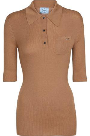 Prada Stretch cashmere-blend polo shirt