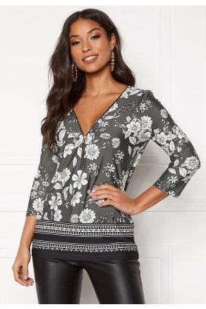 Happy Holly Marion top Khaki green / Patterned 40/42