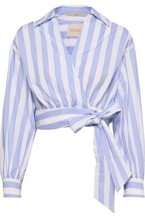 Scotch & Soda Dame Bluser - Organic Cotton Wrapover Top Bluse Langermet Blå