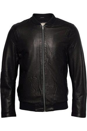 Revolution Sheep Leather Jacket With Rib And Shoulder Detail Skinnjakke Skinnjakke