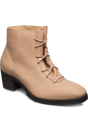 Gram Yatfai Boot Tea Leather Shoes Boots Ankle Boots Ankle Boot - Heel Beige
