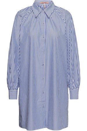Scotch&Soda Crispy Organic Cotton Shirt Dress With Gathers At Neckline Kort Kjole Blå