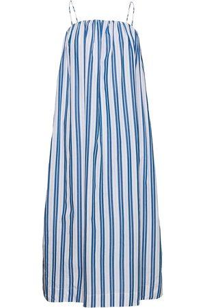 Ganni Stripe Cotton Dresses Everyday Dresses Blå