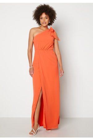 BUBBLEROOM Cyrene one shoulder chiffon gown Coral 34