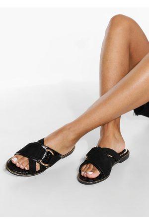 Boohoo Dame Flip flops - Wide Fit Buckle Detail Mule