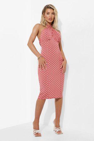 Boohoo Dame Bodycon kjoler - Polka Dot Halterneck Wrap Midi Dress