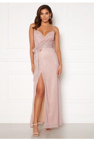 Goddiva Glitter Wrap Front Maxi Dress Blush L (UK14)