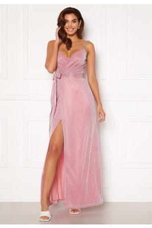 Goddiva Dame Maxikjoler - Glitter Wrap Front Maxi Dress Pink L (UK14)