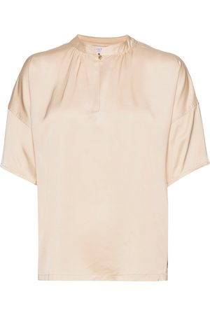 Coster Copenhagen Top W. Short Sleeve And Button Clos Blouses Short-sleeved Creme