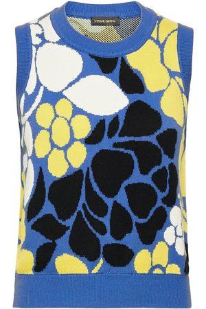 STINE GOYA Dame Vester - Yarrow, 1210 Banana Leaf Knit Vests Knitted Vests Multi/mønstret