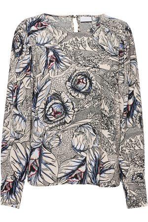 Coster Copenhagen Blouse In Garden Print - Ecovero Le Bluse Langermet Creme