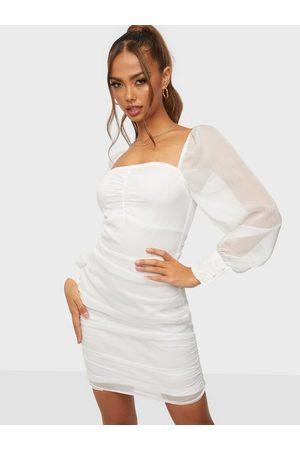Parisian Dame Festkjoler - Sheer Sleeve Mini Dress White