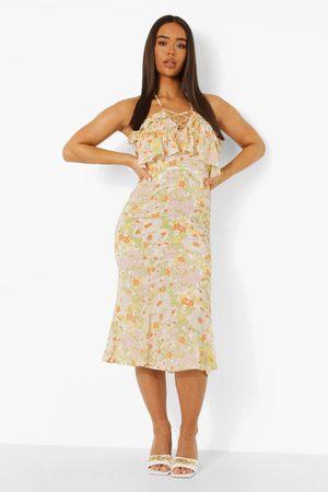 Boohoo Dame Bodycon kjoler - Halterneck Ruffle Midi Dress