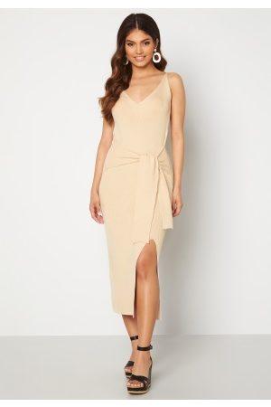 BUBBLEROOM Nour fine knitted rib dress Cream S