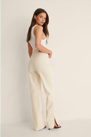 NA-KD Dame Straight - Rette Jeans Med Splittdetalj