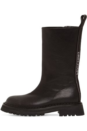 Moschino Dame Skoletter - 50mm Grained Leather Biker Boots
