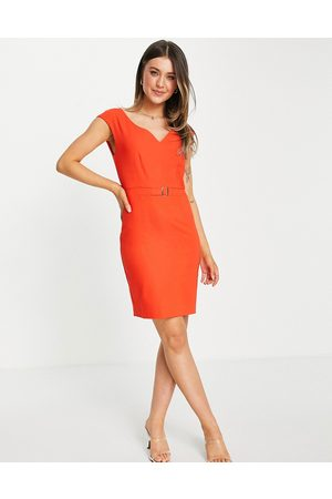 Morgan Pencil dress with belt detail in red