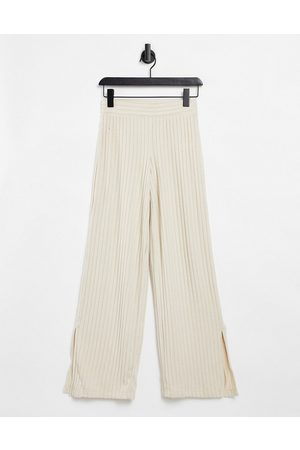Gilly Hicks Co-ord slit loungewear trousers in oatmeal-White