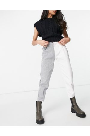 Bershka Contrast two tone slouchy jean in grey and white-Multi