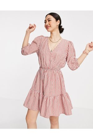 MANGO Gingham wrap dress in red