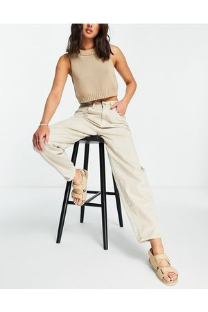 Cotton On High rise mom jean in sand-Brown