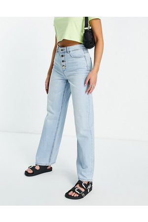 ONLY Dame High waist - Molly wide leg jeans with exposed buttons in light blue