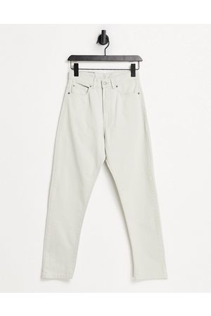 Dr Denim Shift Workers high rise mom jeans in stone-White