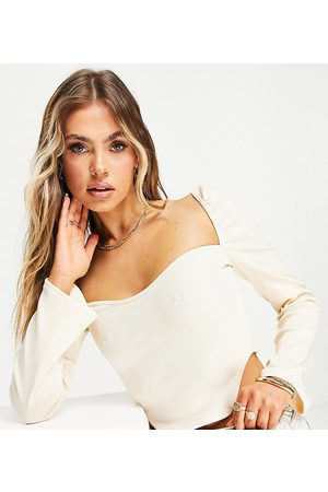 Missyempire Exclusive ribbed long sleeve corset top in buttercream-White