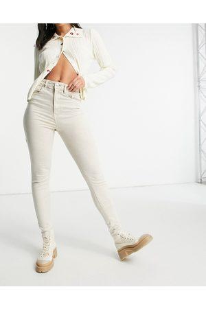 Stradivarius Super high waist skinny jean in stone-Neutral