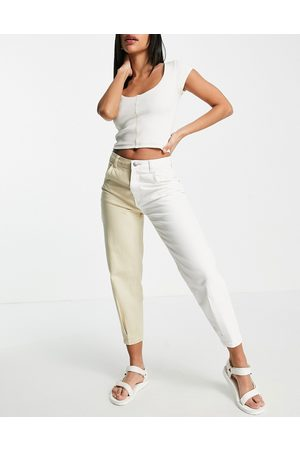 Bershka Dame Jeans - Two tone contrast split wash slouchy jean in camel and white-Multi