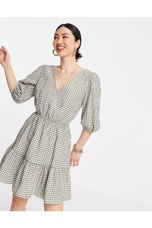 MANGO Dame Hverdagskjoler - Gingham wrap dress in -Neutral