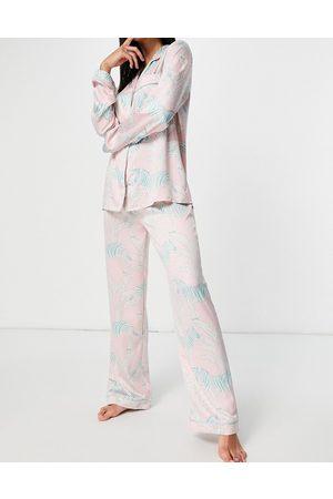 Chelsea Peers Premium satin Zebra printed long revere pyjama set in pastel pink
