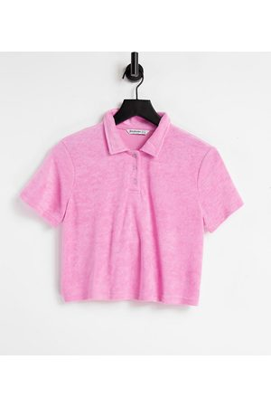 Stradivarius Dame Pique - Towelling short sleeve polo co-ord in pink