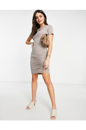 French Connection Sissy jersey mini dress in taupe-Brown