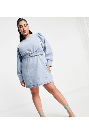 Missguided Long sleeve denim dress with belt in blue