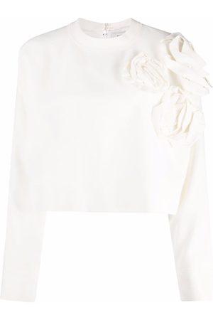 VALENTINO Dame Langermede - Floral-appliqué long-sleeve top