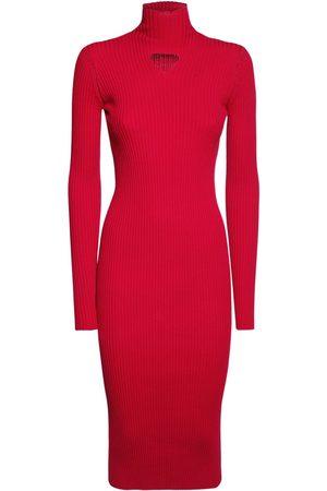 Bottega Veneta Wool Blend Rib Knit Midi Dress