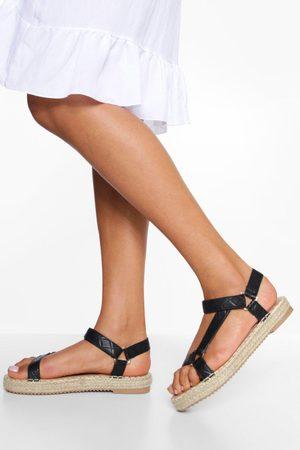 Boohoo Dame Flip flops - Trekking Canvas Detail Sandals