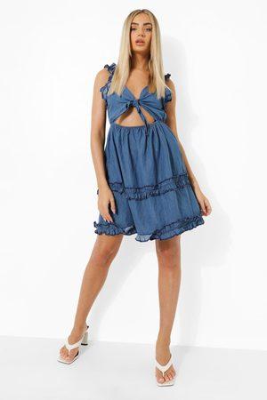 Boohoo Dame Jeanskjoler - Tie Front Denim Dress