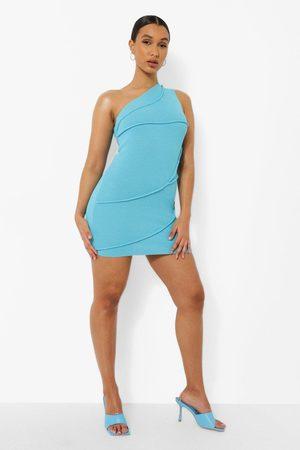 Boohoo Rib Knit Seam Detail Asym Dress