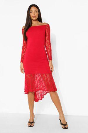 Boohoo Dame Midikjoler - Tall Off The Shoulder Lace Midi Dress