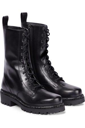 RENÉ CAOVILLA Bika embellished leather combat boots