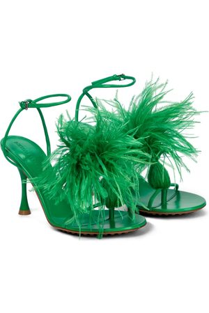 Bottega Veneta Dame Høyhælte sandaler - Dot feather-trimmed leather sandals