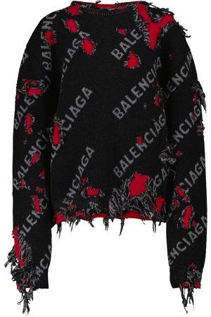 Balenciaga Logo wool and cotton-blend sweater