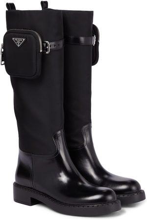 Prada Dame Gummistøvler - Leather, nylon and rubber boots