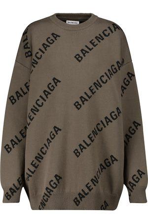 Balenciaga Dame Strikkegensere - Logo cotton-blend sweater