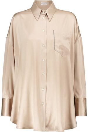 Brunello Cucinelli Dame Langermede - Stretch-silk satin shirt