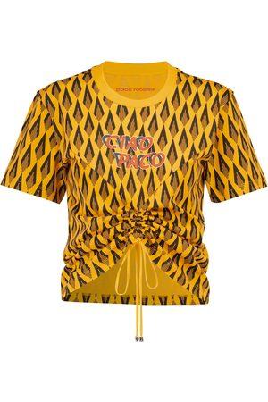Paco rabanne Dame Kortermede - Printed cotton T-shirt